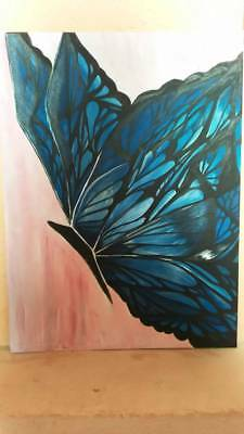 Unique Hand  Made Artist painting Butterfly acrylic paints by ELena Staykova