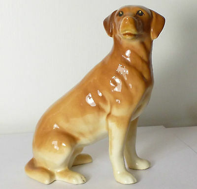 SUPERB LARGE VINTAGE MELBA WARE GOLDEN LABRADOR DOG FIGURINE 18cm TALL