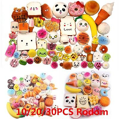 10/20/30pcs Random Squishy Kawaii Soft Squishies Foods Cake Phone Straps Charms