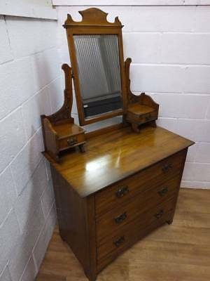 EDWARDIAN SATINWOOD DRESSING TABLE / 3 DRAWER CHEST O DRAWERS, With MIRROR.
