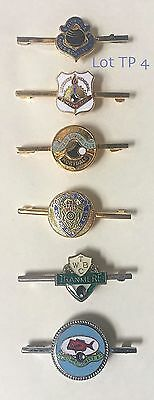 6 ☛ Vintage Bowling Club Tie Pins With Club Badges Attached, Tp 4