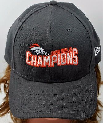 07d0595cc New Era Denver Broncos NFL Super Bowl 50 Champions Gray Cap Hat Adjustable