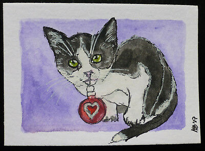Christmas Cat aceo ORIGINAL miniature watercolor painting OOAK art sketch no.6