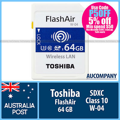 Toshiba 64 GB 64G Flash Air FlashAir Wireless LAN WLAN SD SDXC Class10 WIFI W 04