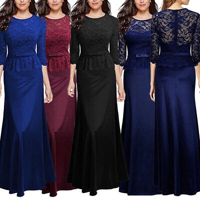 Womens Formal Evening Maxi 3/4 Sleeve Lace Dress Ball Gown Wedding Party Dresses