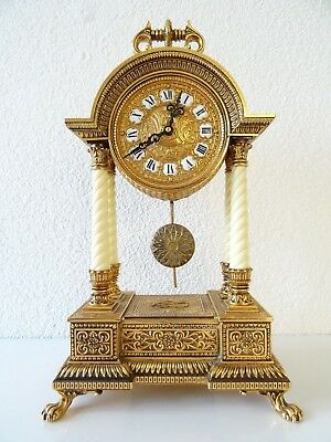 SCHMID German Gilded Mantel Shelf Pillar Clock 8 day Mid Century Vintage Antique
