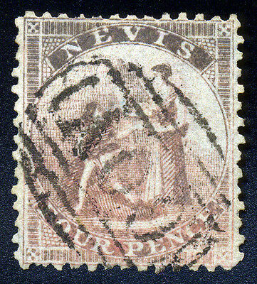 Nevis. 1861. 4d. Dull Rose. SC# 2(?). SG# 2(?). VF Used, Discolored