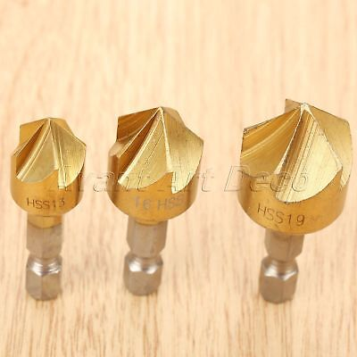 3pcs HSS Titanium Coated Drill Bits Countersink Deburring Chamfering Power Tool