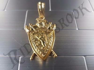 Gold Toned Lion Shield Pendant 316L Stainless Steel Solid Biker Knights Crest