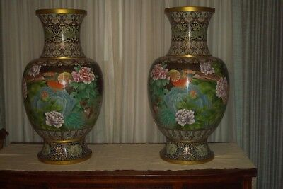 Stunning Pair Of Chinese Cloisonne Palace Size Vases