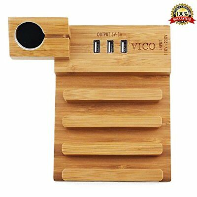 Wooden Bamboo 3-Port USB Charging Station Multi-Use for Apple Watch & iPhone