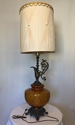 Vintage Mid Century 1972 3 Way Table Lamp EF Industries Amber Glass With  Shade