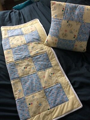 Handmade Peter Rabbit Baby patchwork Quilt and Cushion
