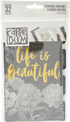Pack 6, Carpe Diem Beautiful Double-Sided Personal Planner Inserts-Monthly, Unda
