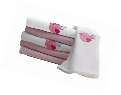 Lollipop Lane Baby Child Muslin Square - Pink Birdie, Pack Of 6 NEW