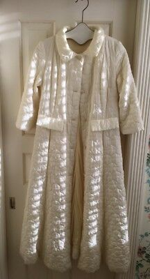 Vintage Quilted Robe, 60s Cream Quilted Satin Bathrobe, Say-La Loungewear