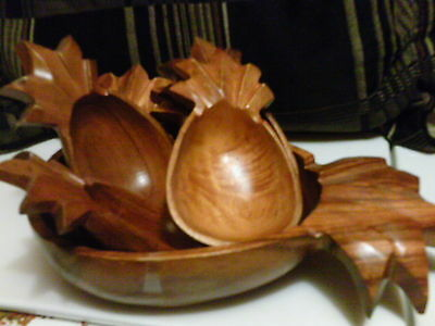Monkey Pod Pineapple shape Wood salad bowls