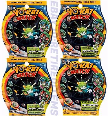 Lot of 4 Packs YOKAI YO-MOTION SERIES 2 YO-KAI Watch Medals Blind Bag HASBRO NEW
