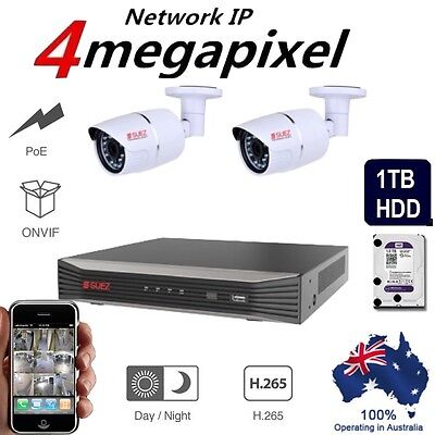 Security System 4K NVR with 2x Outdoor IP Network Security Camera  HD + 1TB HDD