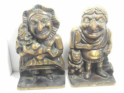 Vintage Punch And Judy Brass or Bronze Bookends