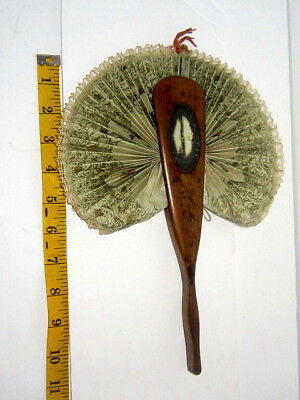 Antique Italian Hand-Made Fan w/Embedded Mirror/c.1875/Signed/Wood/Must See!
