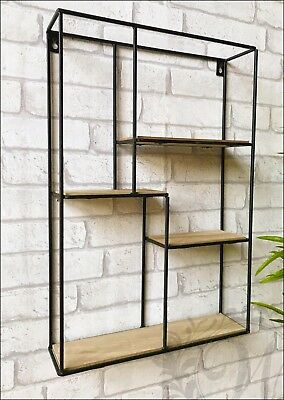 Rectangle Wall Unit Retro Wood Industrial Style Metal Shelf Rack Storage Black