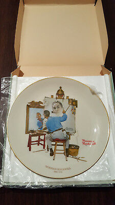"Norman Rockwell Collector Plate - ""Tripple Self Portrait"""