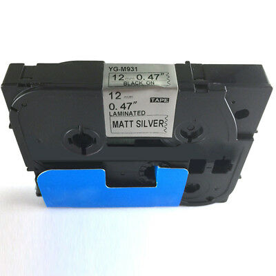 Black on Matt Silver Label Wire Tape Compatible for Brother TZe Tz P-Touch 12mm