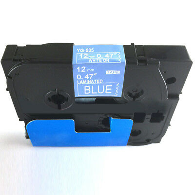 White on Blue Label Tape Compatible for Brother TZe 231 Tz P-Touch 12mm Flexible