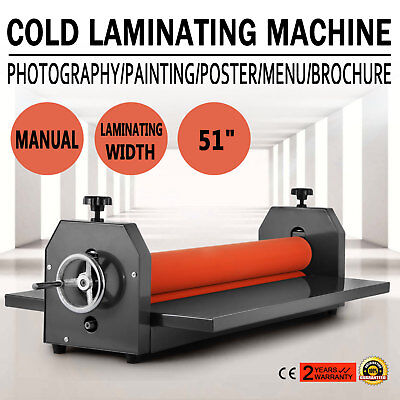 "Manual Cold Roll Laminator 1300mm Laminating Machine Vinyl 51"" Poster 4 Roller"