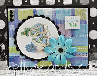 Sewn Funny You are my cup of tea Greeting Card Paper Premade Handmade KOScraps4u