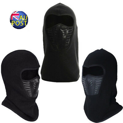 Full Face Thermal Fleece Balaclava Neck Warm Winter Ski Mask Cap Ninja Costume M