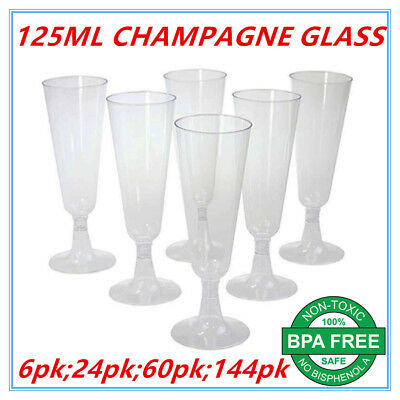 Disposable Plastic Champagne Flutes 125ml Wedding Party Wine Glasses Glass Cups