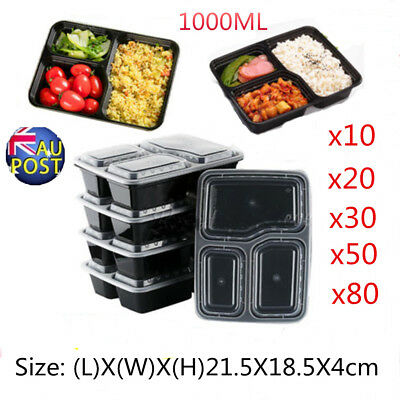 10~100x Microwavable Meal Prep Containers Plastic Food Storage Reusable Box MN