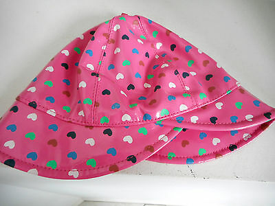 6 - 12 months Pink Rainhat rain hat bonnet heart pattern lined baby girls Size 0