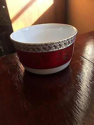 Vintage Royal Stafford Sugar Bowl in Burgundy and Gold Lace,