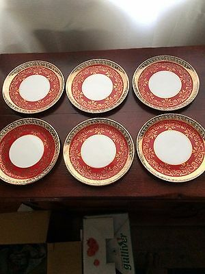 Vintage Royal Stafford Dessert Plate in Burgundy and Gold Lace, 6 Available