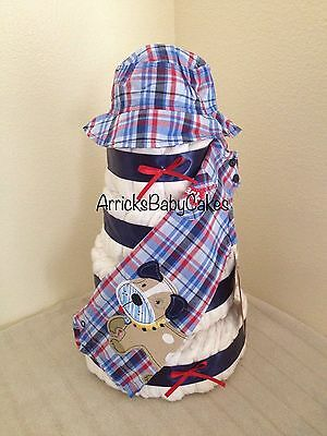 The Baby Boy Summer Fun 4 Tier Diaper Cake By ArricksBabyCakes *Baby Outfit*