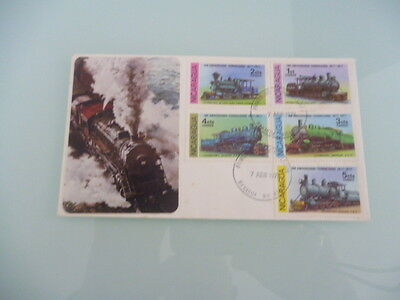 Nicaragua 1978 fdc locomotives  x 5 stamps