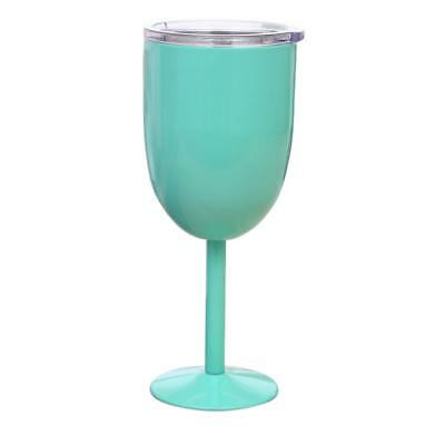 Green Double Wall Goblet Wine Tumbler Cup Rambler Champagne Beer Cup 21cm