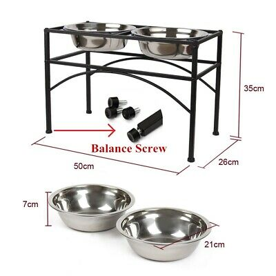 🔥Large Dog Puppy Pet Feeder Stand Set +2 Bowls Detachable Stainless Steel in UK