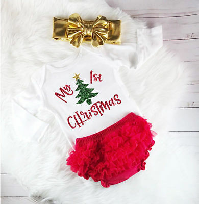 Newborn Baby Girl Christmas Clothes Cotton Romper Lace Ruffle Shorts Outfits Set