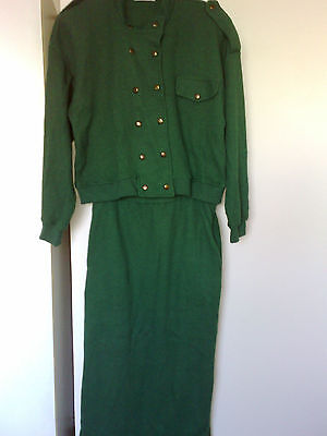VINTAGE FREE GIRL Green Knit Double Breast Long Sleeve Top with Straight skirt
