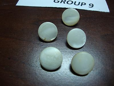 5 Antique Mother Of Pearl Button Brass Shank 1/2 Inch Diameter 19th Century