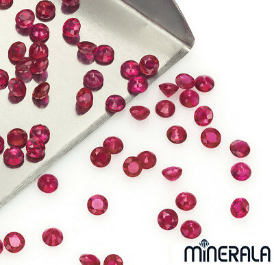 [WHOLESALE] NATURAL BURMA RUBY GEMSTONE FACETED ROUND SHAPE 2mm-3mm LOOSE STONE