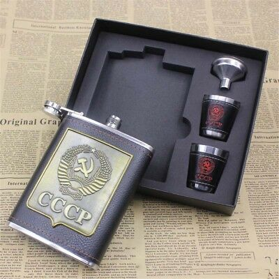 8oz Stainless Steel Hip Flask Liquor Whiskey Drink +Cups Funnel Men Gift Box HOT