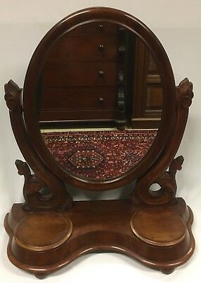 Antique Victorian Mahogany Toilet Mirror with Scroll Supports and Compartments
