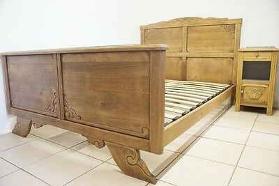1930s French Art Deco Double Bed + Slatted Base Vintage Antique