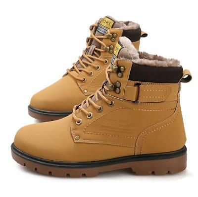 Mens Round Toe Lace Up Short Ankle Boots Work Safety Plush Fur Warm Shoes Size