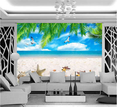 Sober Lively Beach 3D Full Wall Mural Photo Wallpaper Printing Home Kids Decor